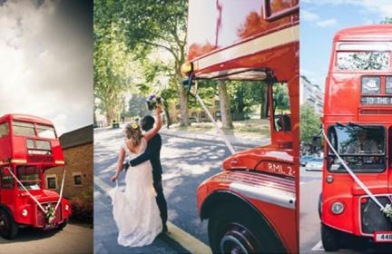three red wedding buses with bride and groom standing in front of one