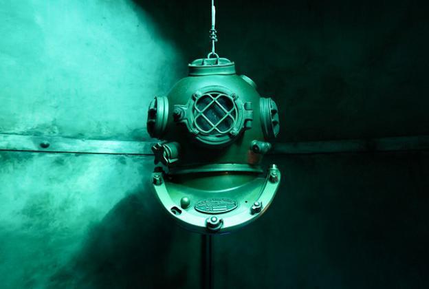 old diving helmet underwater