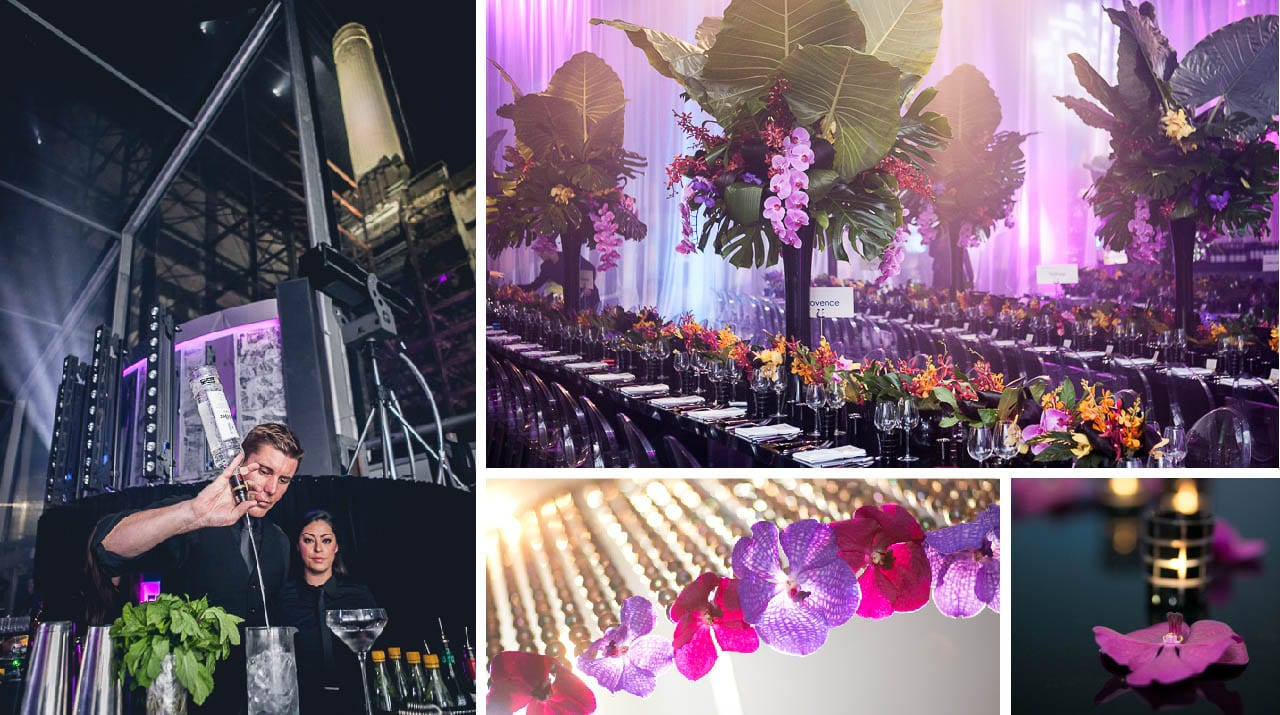 A collage of photos displaying a barman, tables and flowers at an event
