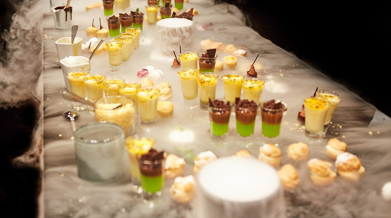 Spectacular dessert station made into a piece of art with dry ice for a corporate brand event in London