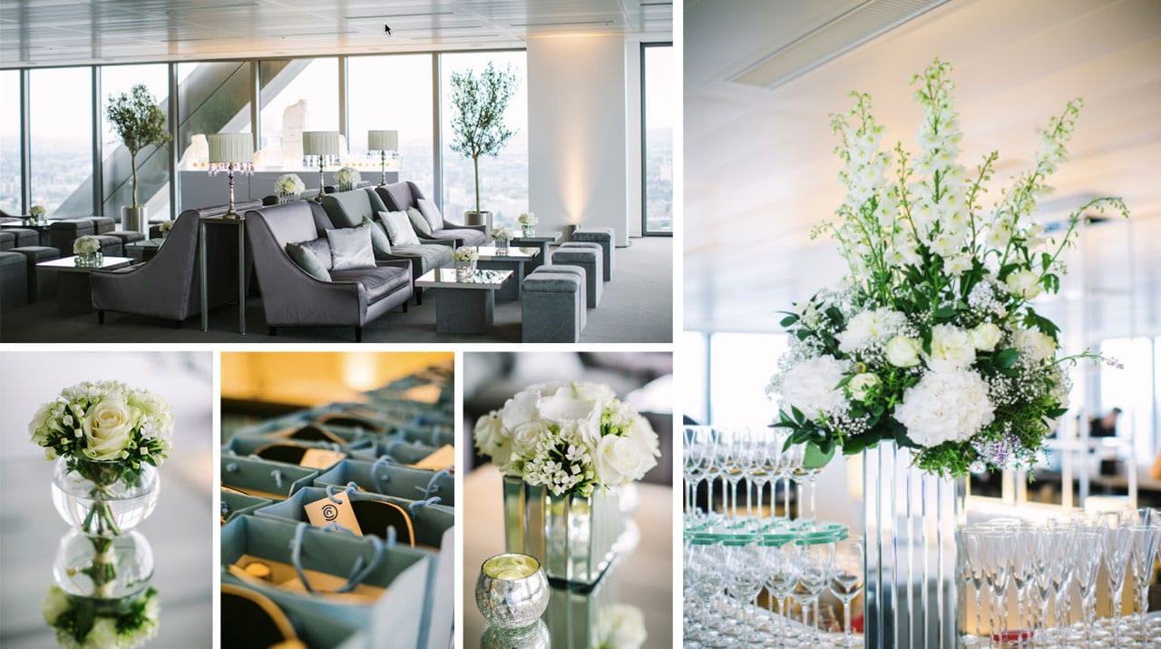 A collage of images showcasing corporate event decor and style