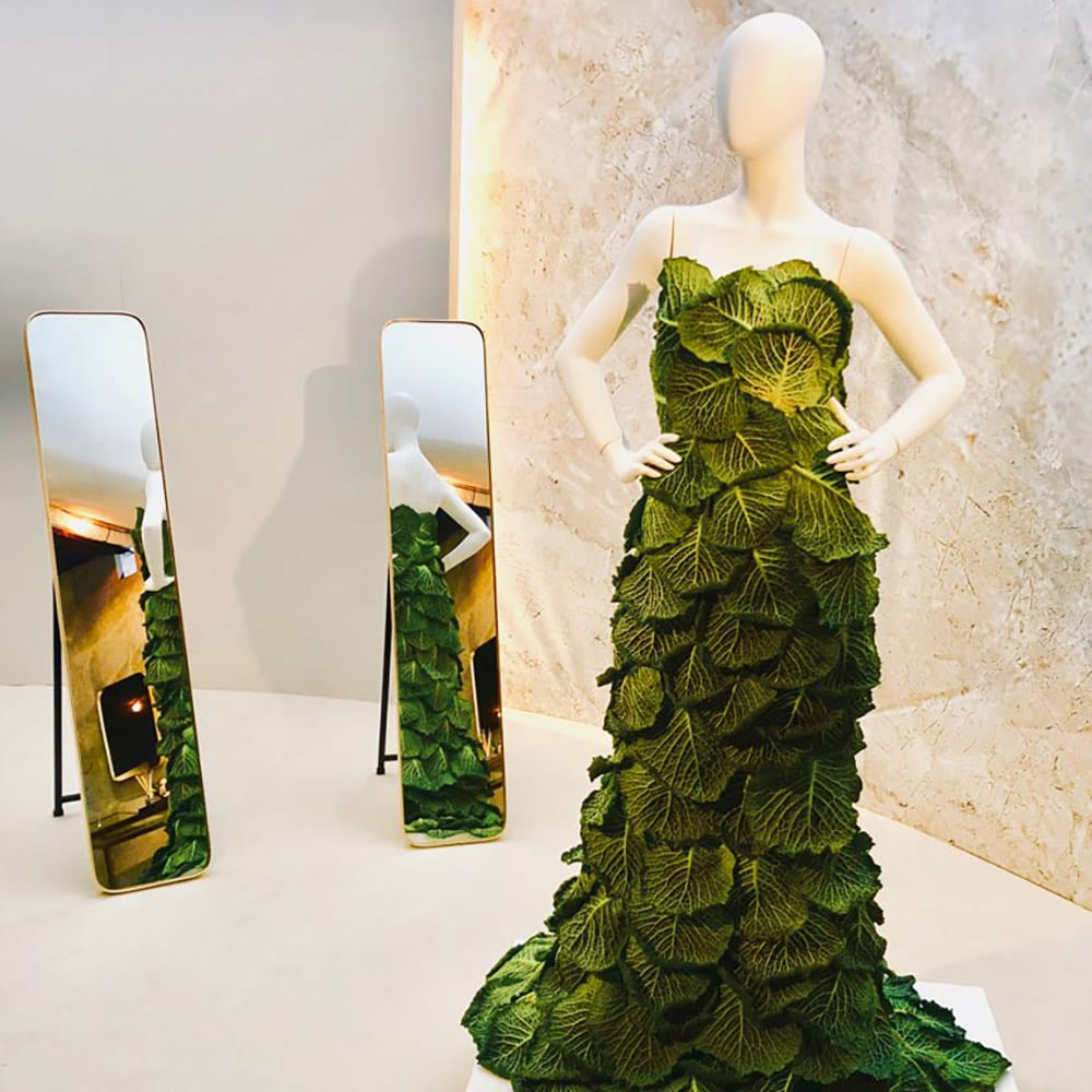 A cabbage dress on a mannequin in front of a mirror