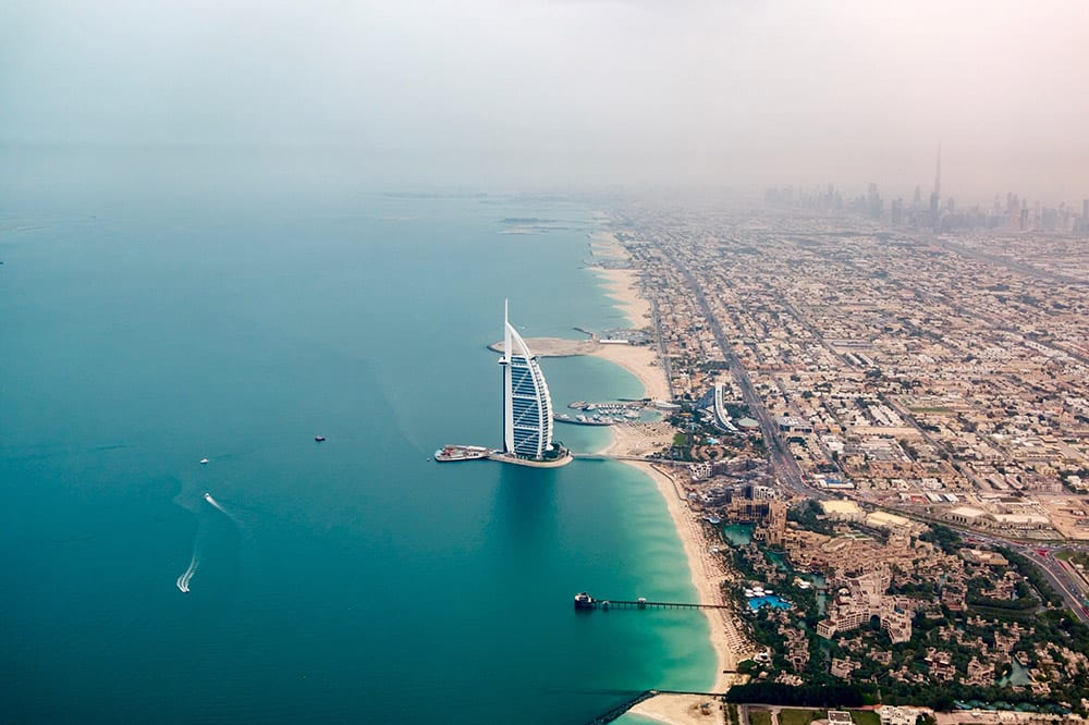 Stunning aerial views of the luxury wedding destination of Dubai