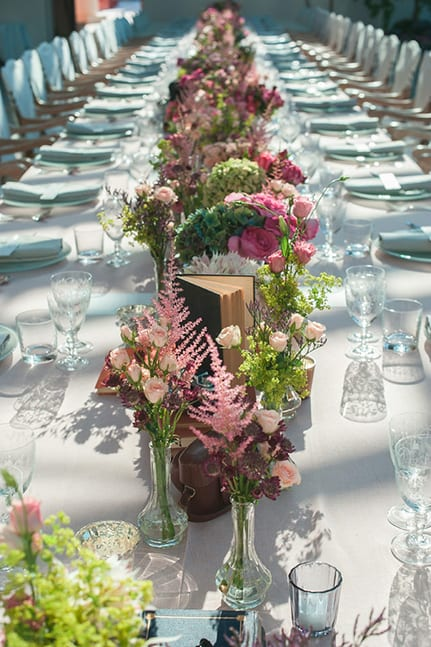 weddings in france | luxury wedding table with flowers