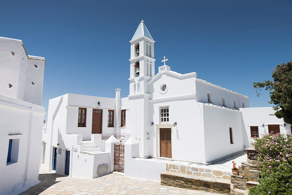 Beautiful traditional white Greek church perfect for a destination wedding