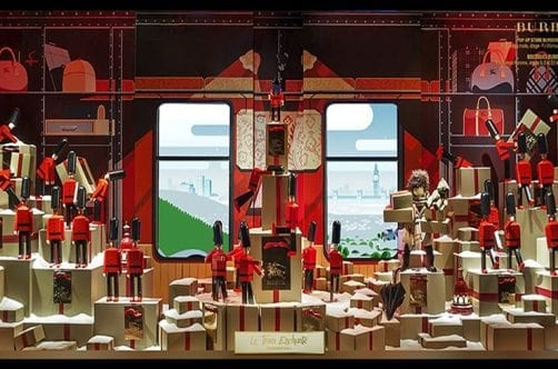 Toy solider Christmas display at Burberry