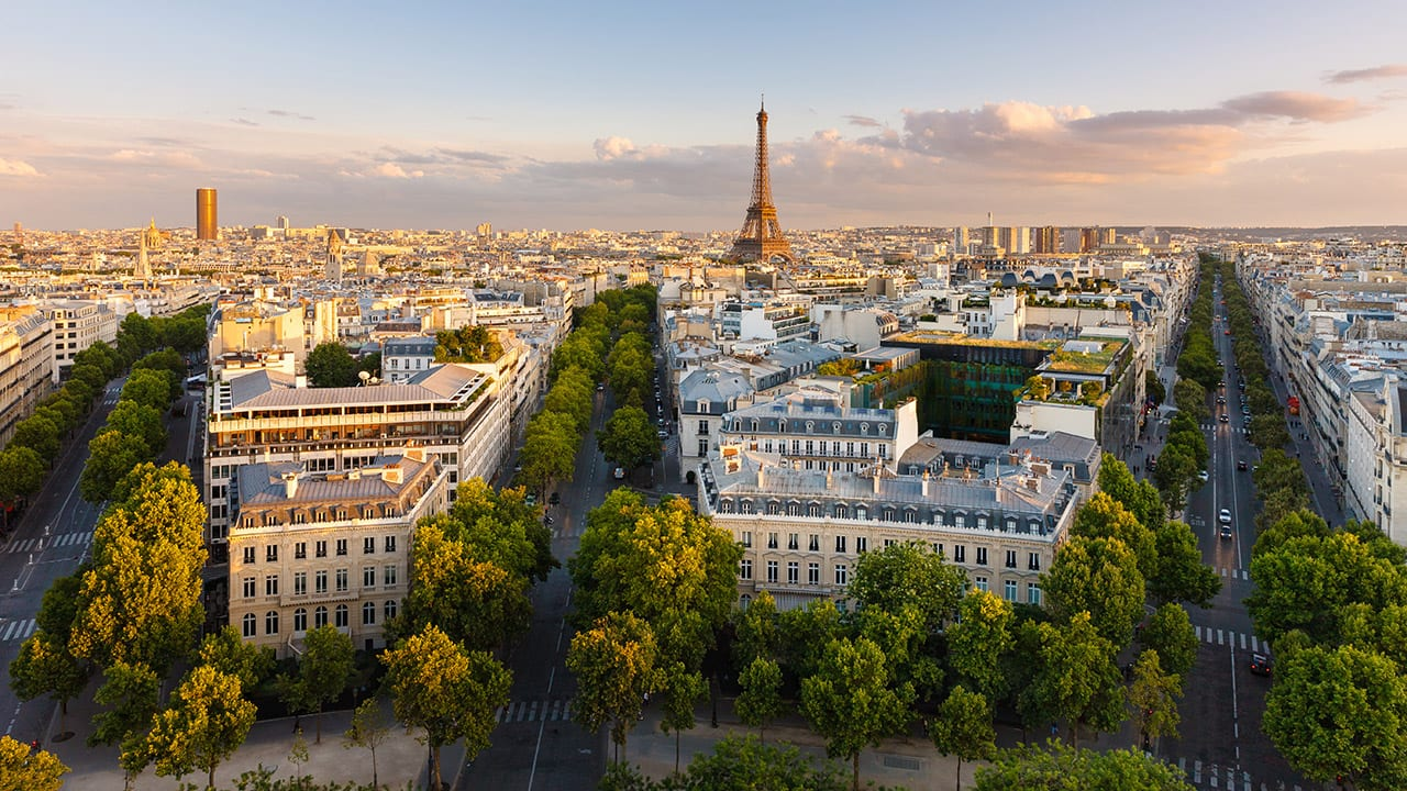 weddings in paris | Aerial view of Paris and Eiffel Tower at Sunset, France
