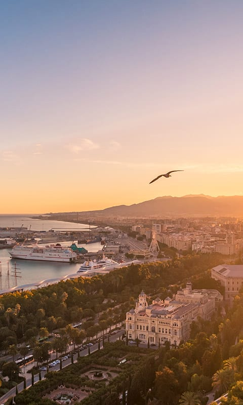 A view of the port in La Malagueta, Spain at sunset