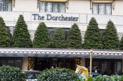 The exterior of The Dorchester Hotel in London