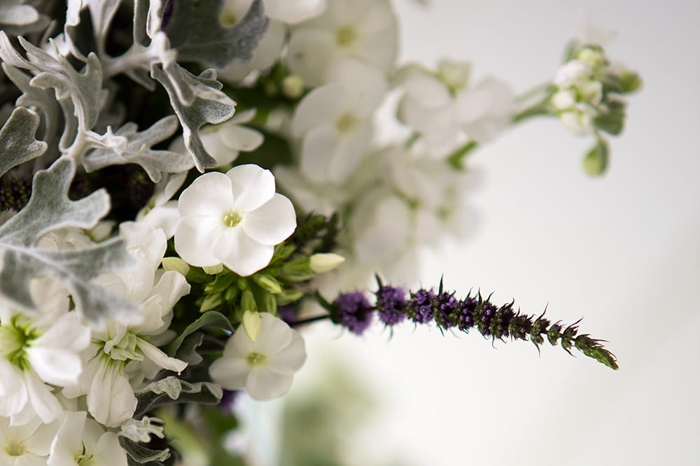 Detail from a bride's wedding bouquet incorporating white, silver and heather