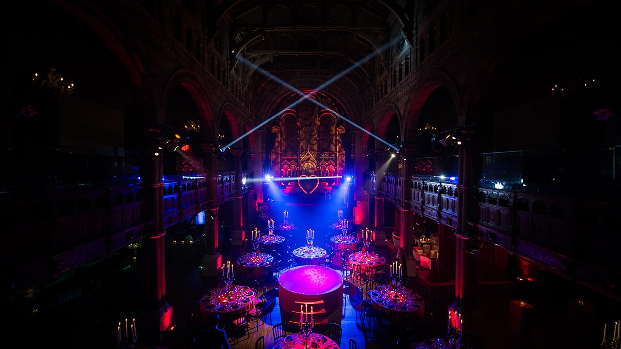 Moulin Rouge party with black candelabras, lighting and amazing set design and production