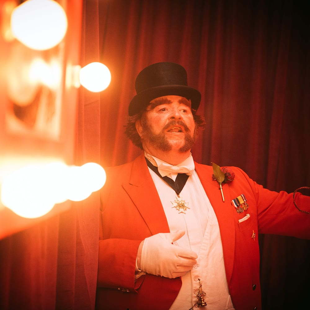 The ringmaster at a Moulin Rouge themed 18th Birthday party in London