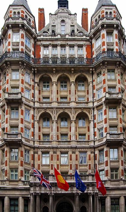 Exterior of the Mandarin Oriental Hotel in London