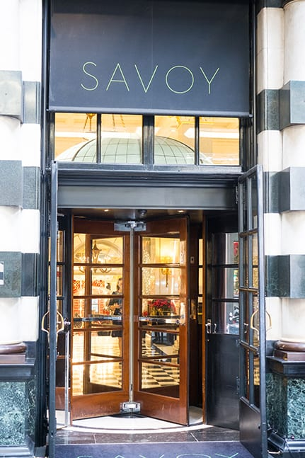 A revolving door at the entrance of the Savoy Hotel in London