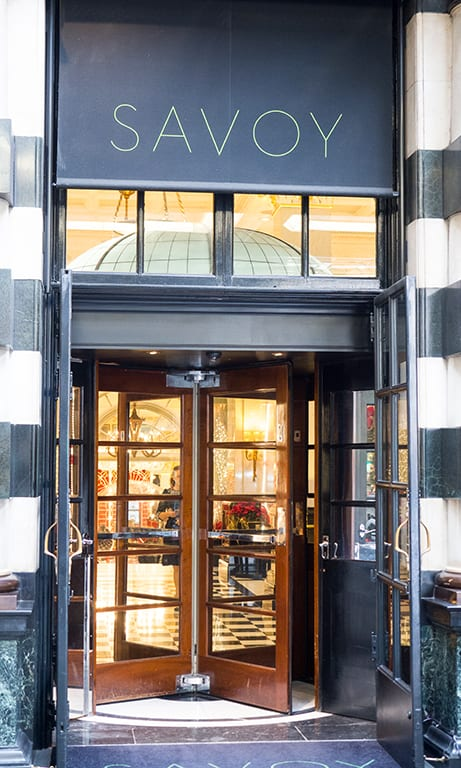 The Savoy Hotel entrance in London, a top London venue to hire